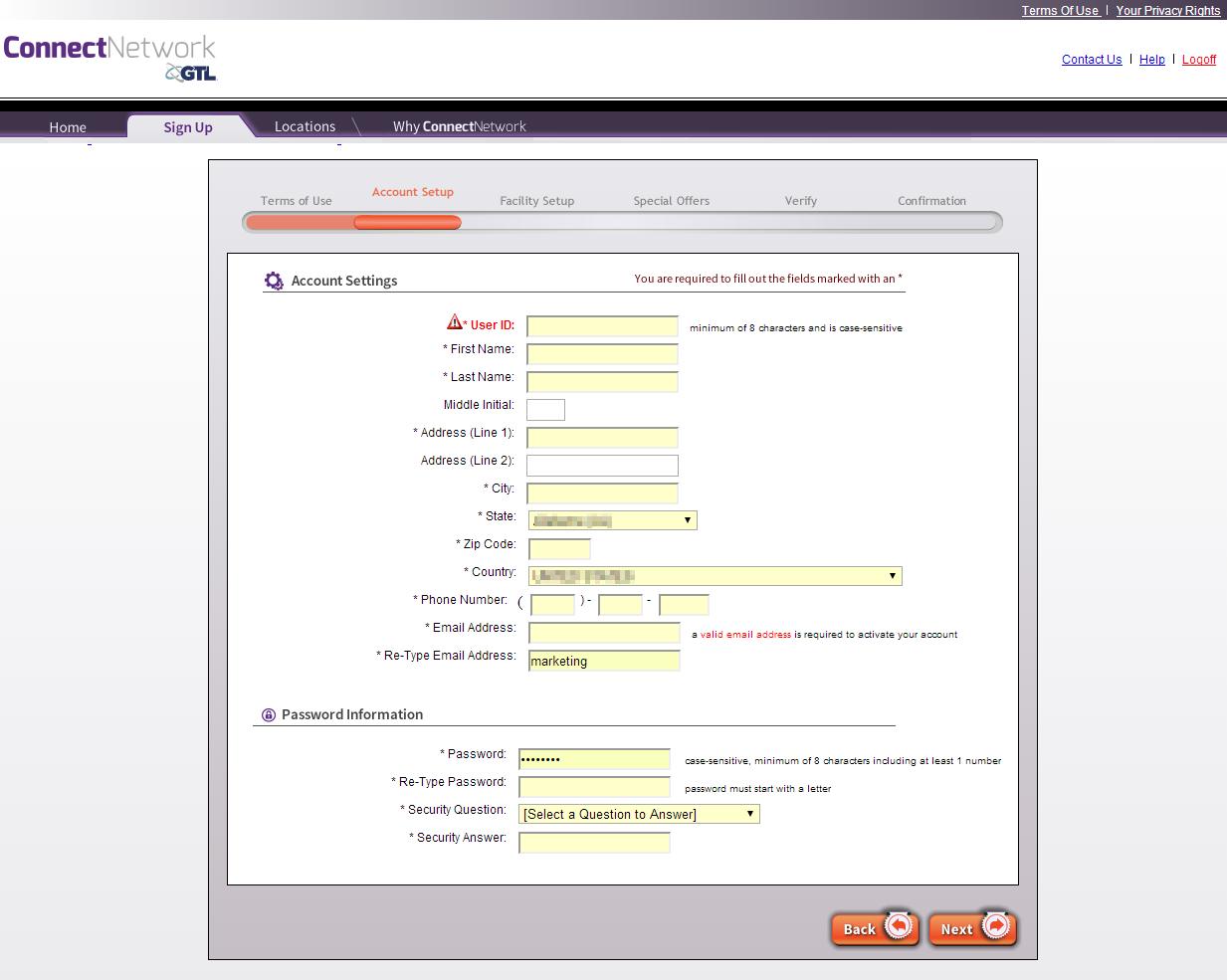 ConnectNetwork com Account Management Instructions – PIN